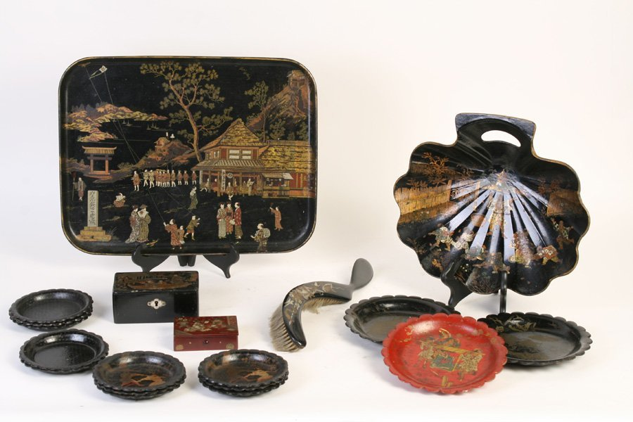 LOT OF 19 PIECES OF CHINESE LACQUER WARES C.1900