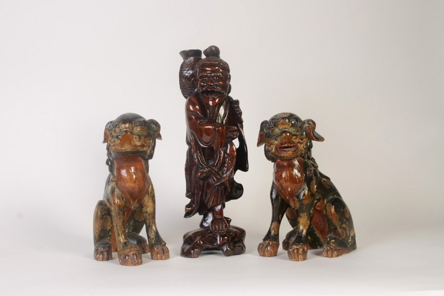 3 PIECE ASIAN LOT WOOD STATUE & PAIR OF FOO DOGS