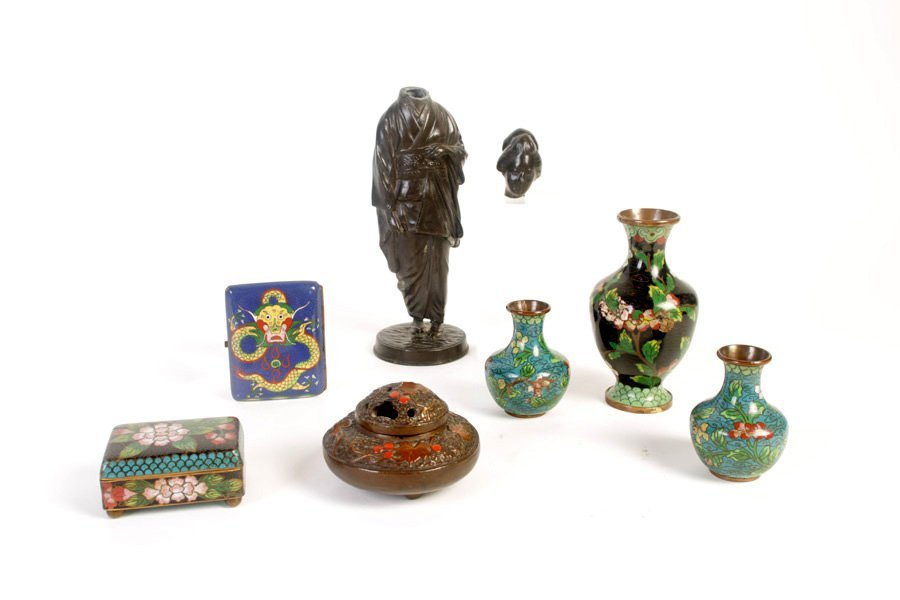 7 PIECE ASIAN LOT OF CLOISONNE & JAPANESE ITEMS