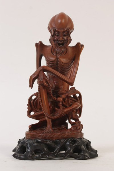 CHINESE CARVED WOOD SCULPTURE LOHAN AS AN ASCETIC