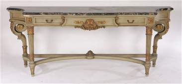 LARGE PAINTED GILTWOOD L 16 CONSOLE TABLE