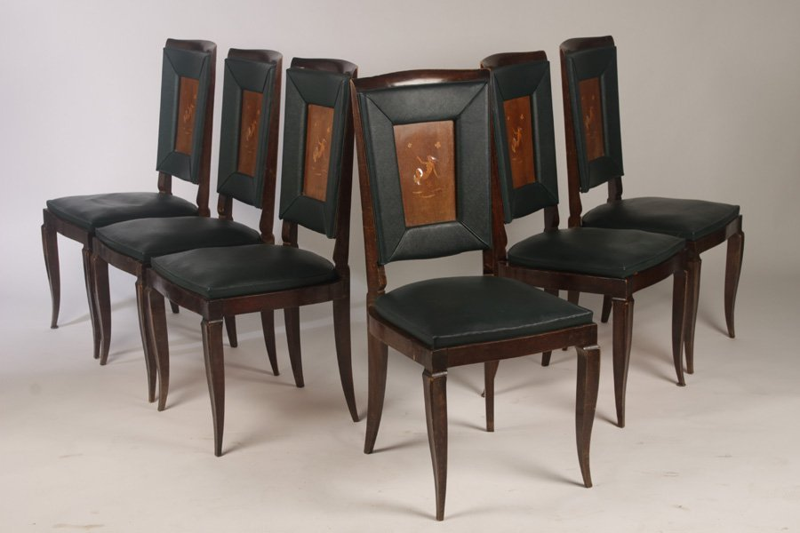 INTERESTING SET OFO 6 FRENCH DINING CHAIRS C.1940