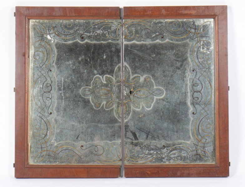 PAIR OF FRENCH EGLOMISE DECORATED MIRRORED DOORS