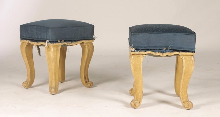 PAIR OF FRENCH CARVED & PAINTED STOOLS CIRCA 1940