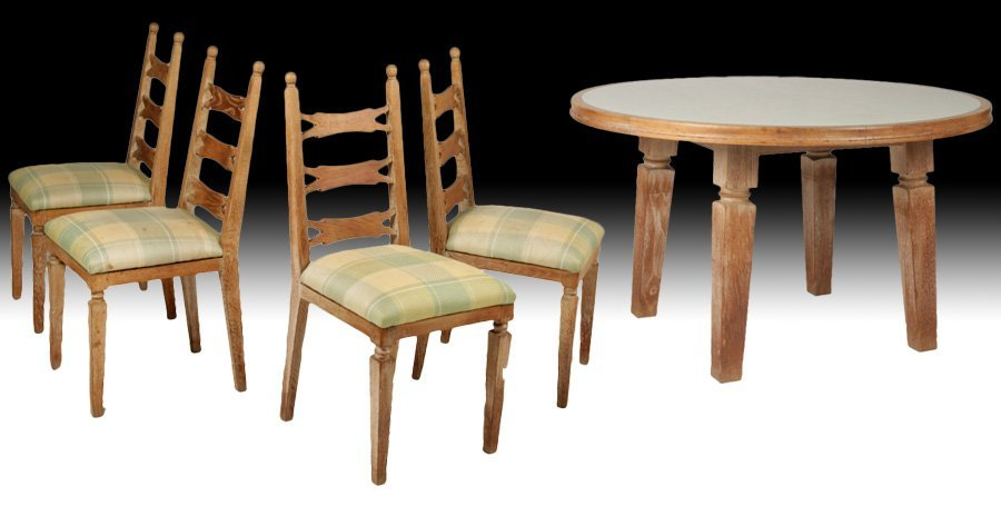 FRENCH MODERN CERUSED OAK DINING TABLE & 4 CHAIRS