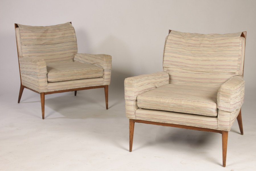 PAIR OF PAUL MCCOBB UPHOLSTERED LOUNGE CHAIRS