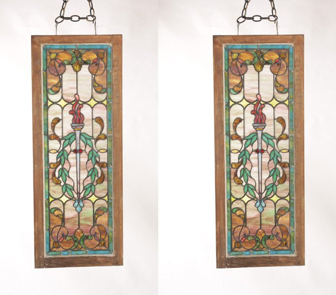 PAIR OF VICTORIAN STAINED GLASS PANELS CIRCA 1890