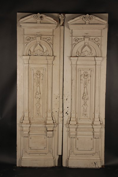 PAIR OF ANTIQUE CARVED ENTRY DOORS CIRCA 1900