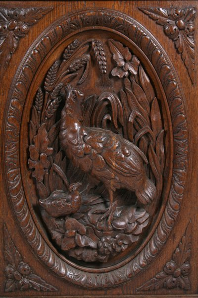 Oak Victorian Sideboard Griffins Dogs Fowl Circa 1880 Lot 8