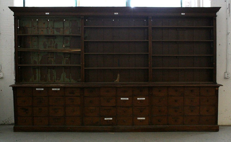 2-PIECE APOTHECARY CABINET WITH 48 DRAWERS C.1900