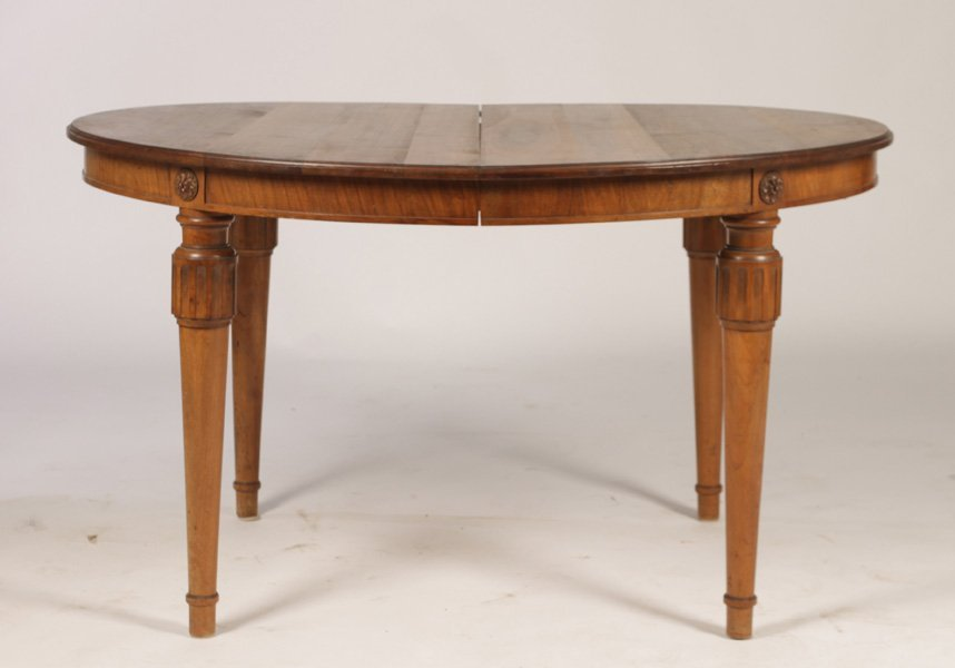 OVAL WALNUT DINING TABLE WITH COLUMN LEGS C.1930