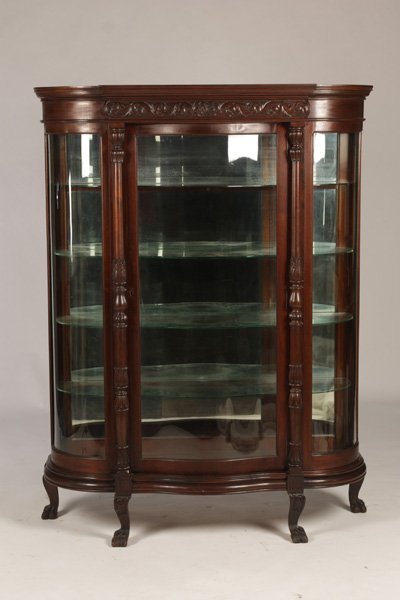 VICTORIAN WALNUT BOWFRONT CHINA CABINET C.1890