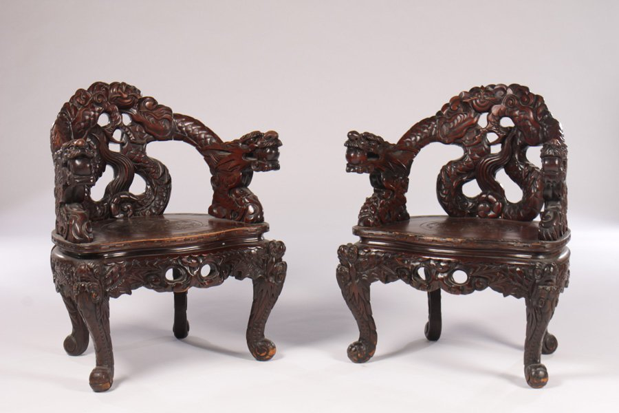 PR AISAN DRAGON CARVED ARM CHAIRS