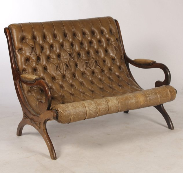 DOUBLE TUFTED LEATHER SETTEE CURULE BASE