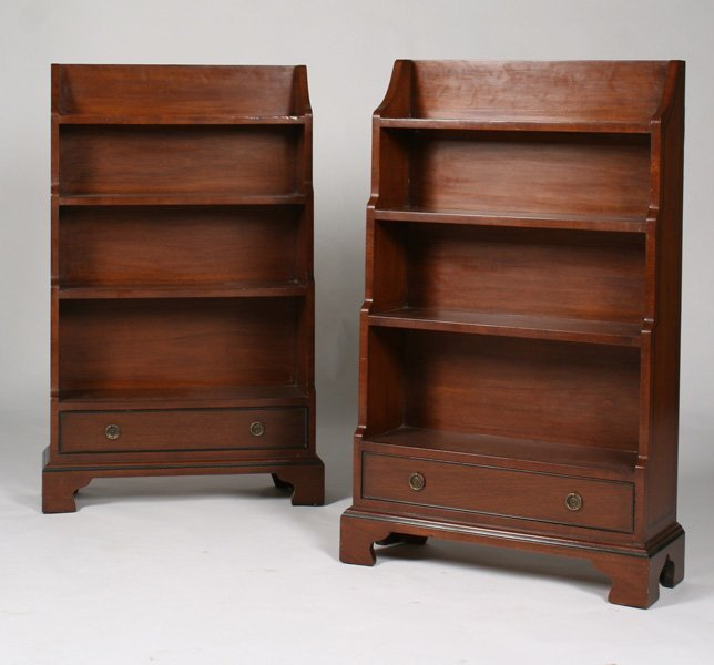 SMALL PR GEORGE III STYLE OPEN BOOKCASES SINGLE DRAWER