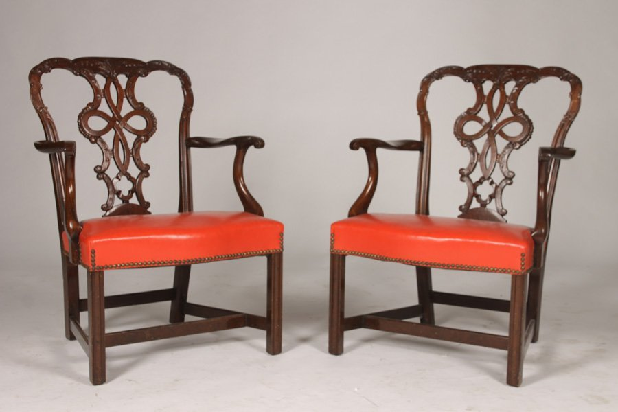 PAIR CHIPPENDALE CARVED MAHOGANY ARMCHAIRS C.1920
