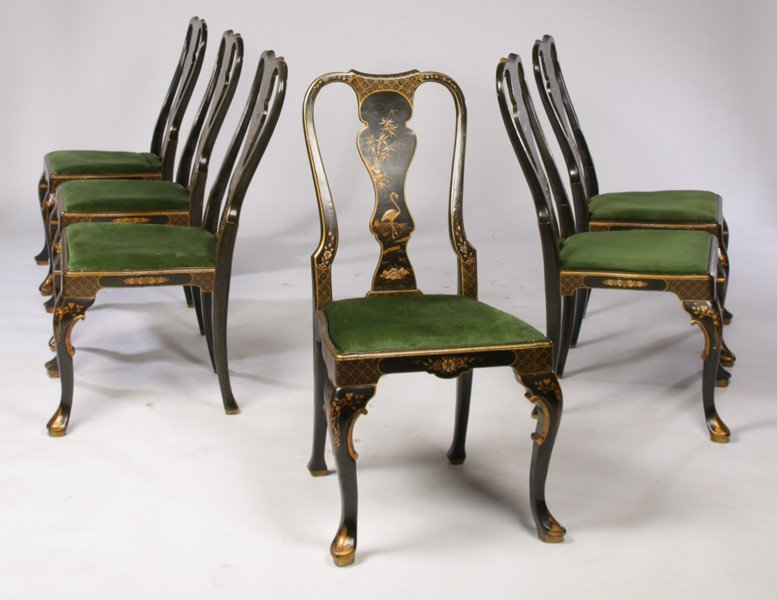 6 QUEEN ANNE CHINOSERIE DECORATED DINING CHAIRS