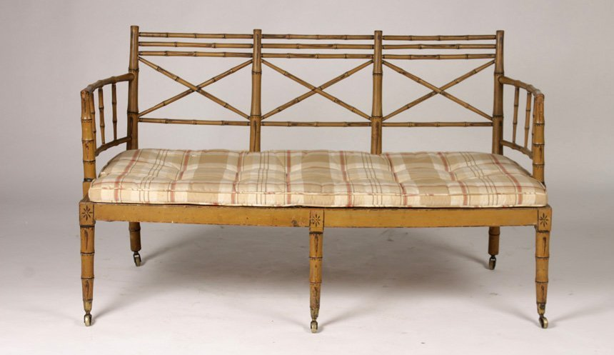 ENGLISH 19TH CENTURY FAUX BAMBOO OPEN ARM SETTEE