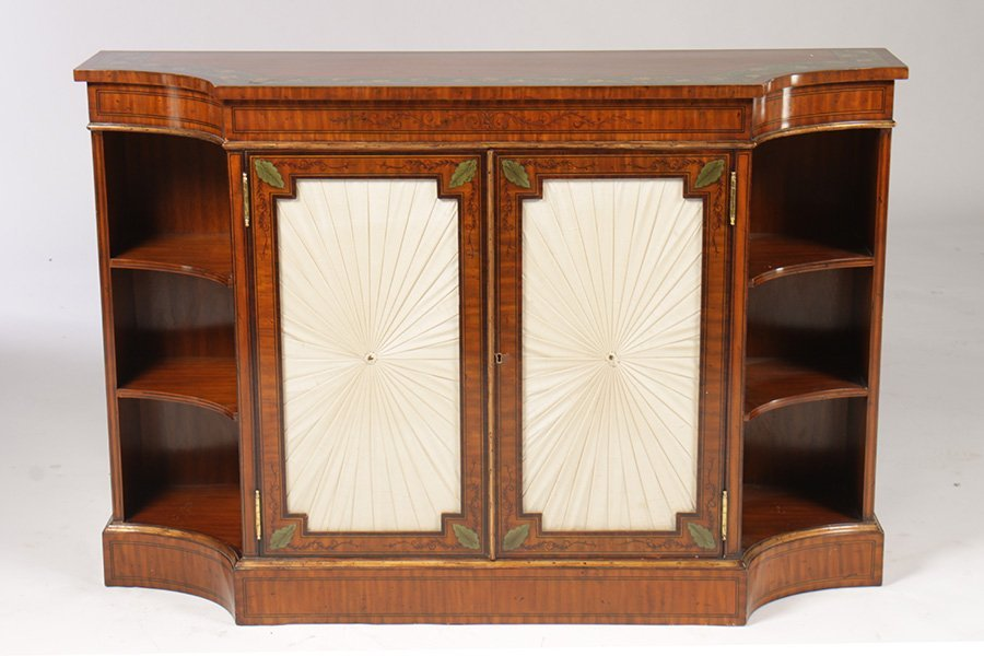 ADAMS STYLE PAINT DECORATED SATINWOOD BOOKCASE  DOORS