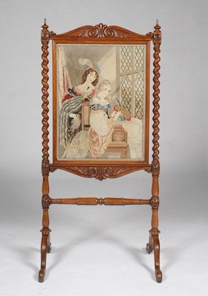 VICTORIAN ROSEWOOD FIRE SCREEN EMBROIDERED PANEL