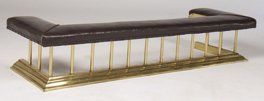 BRASS FIREPLACE CLUB FENDER LEATHER CUSHION SEAT