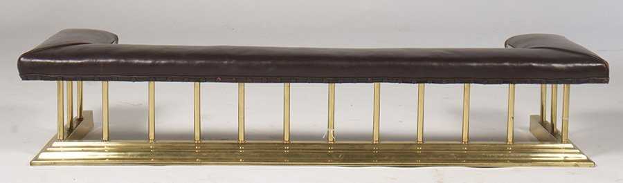 BRASS FIREPLACE CLUB FENDER LEATHER CUSHION SEAT - 2