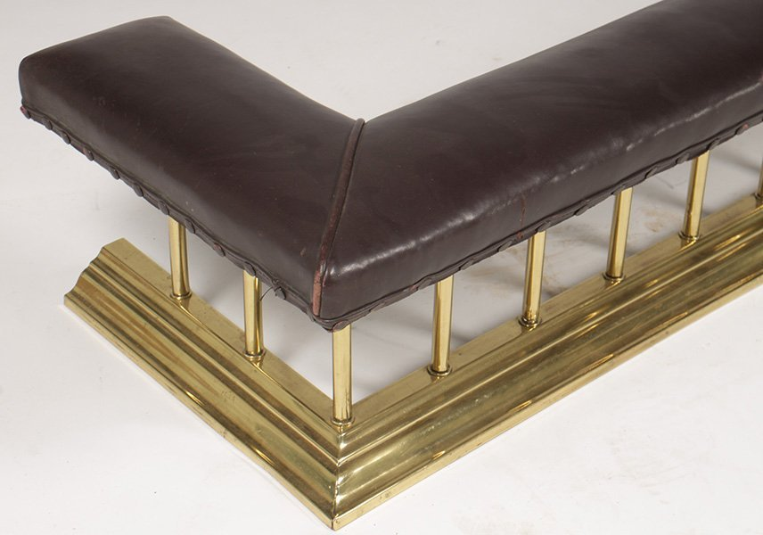 BRASS FIREPLACE CLUB FENDER LEATHER CUSHION SEAT - 3