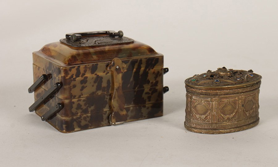 LOT OF TWO ASIAN TRINKET BOXES C. 1900 TORTOISE
