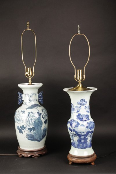 NICE LOT 2 CHINESE PORCELAIN VASE LAMPS