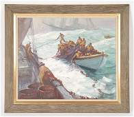 """EMILE A. GRUPPE """"OH FISH"""" OIL ON LINEN SIGNED"""