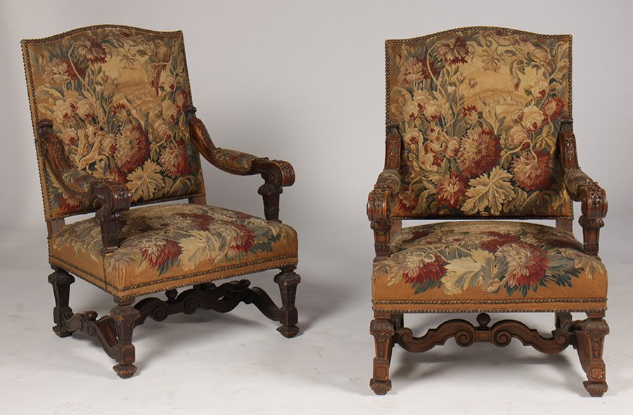 PR CONTINENTAL L. XIV CARVED NEEDLE POINT ARM CHAIRS