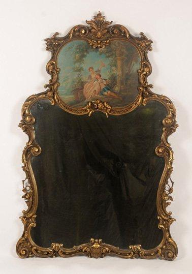 LOUIS XIV STYLE GILT CARVED TRUMEAU MIRROR C.1920
