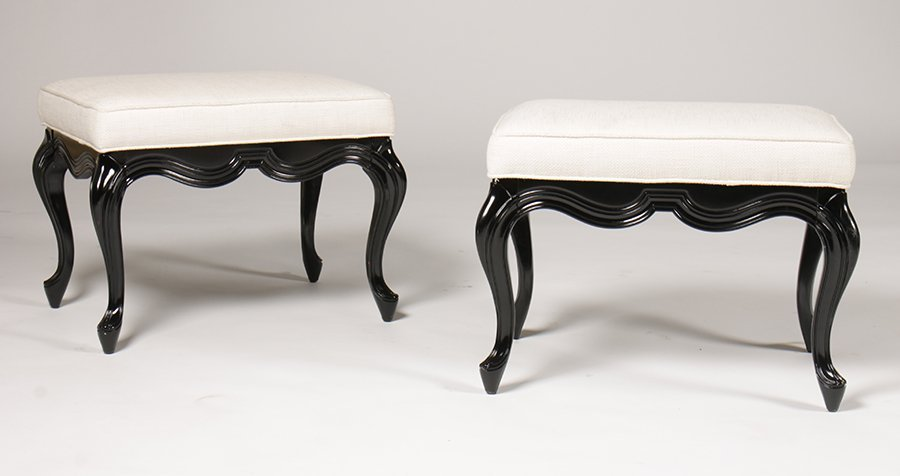 PAIR EBONIZED BENCHES UPHOLSTERED SEATS CABRIOLE