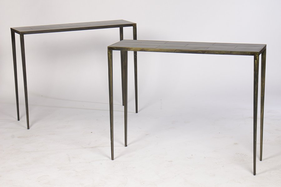 PAIR OF IRON CONSOLE TABLES WITH BRONZE WASH