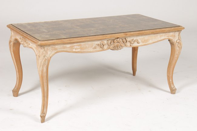 L 15 White Washed Coffee Table Eglomise Glass Top Lot 7