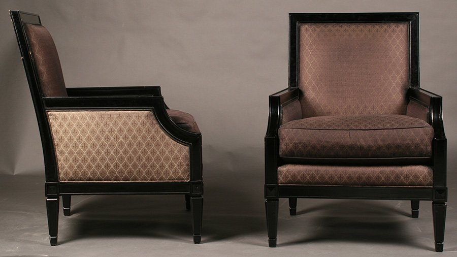 PAIR OF NEOCLASSICAL EBONIZED LIBRARY CHAIRS X BACK