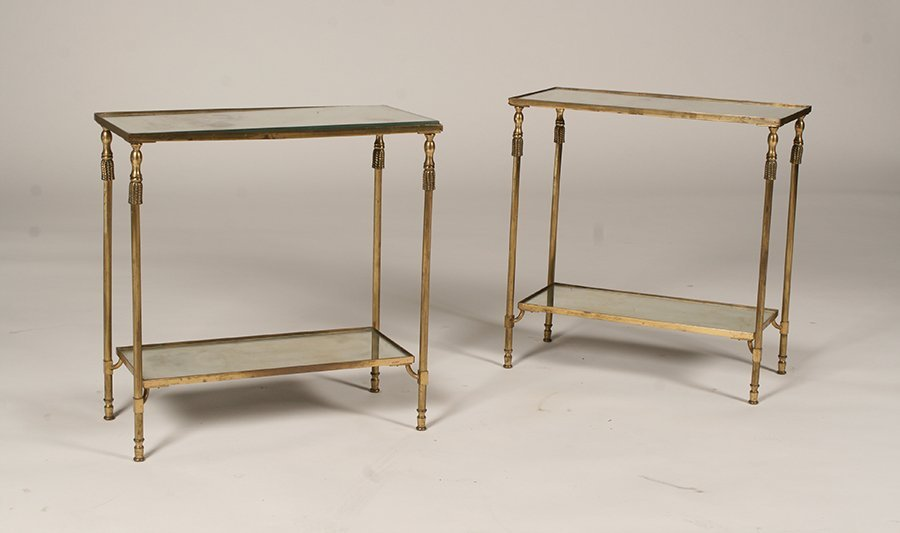 PAIR OF FRENCH BRONZE 2 TIERED END TABLES C 1950