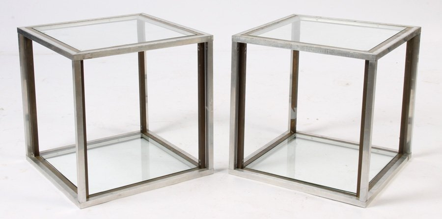 PAIR MID CENTURY MODERN CHROME BRASS  END TABLES C1970