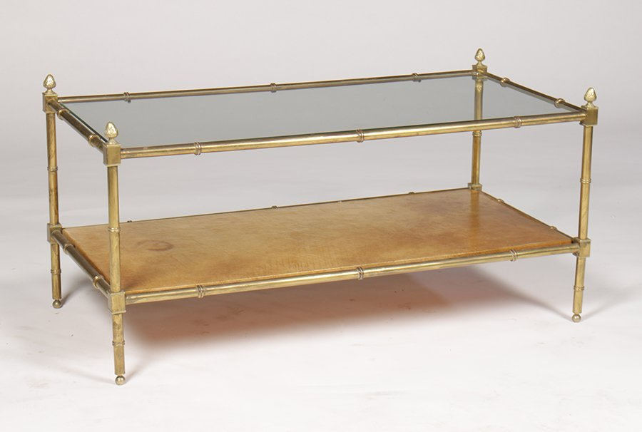 BRASS FAUX BAMBOO COFFEE TABLE GLASS TOP C. 1960