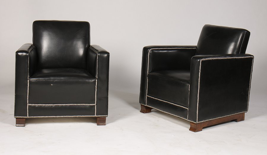 PR LEATHER ART DECO LOUNGE CHAIRS UPHOLSTERED