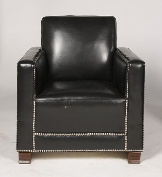 PR LEATHER ART DECO LOUNGE CHAIRS UPHOLSTERED - 2