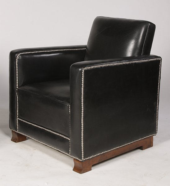 PR LEATHER ART DECO LOUNGE CHAIRS UPHOLSTERED - 3