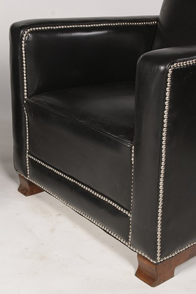 PR LEATHER ART DECO LOUNGE CHAIRS UPHOLSTERED - 4