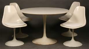 MID CENTURY MODERN SAARINEN TULIP TABLE  CHAIRS