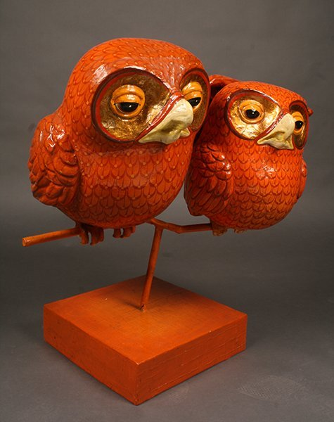 WHIMISICAL SIGNED BUSTAMANTE PAPIER MACHE OWL - 2