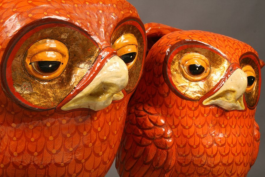 WHIMISICAL SIGNED BUSTAMANTE PAPIER MACHE OWL - 3