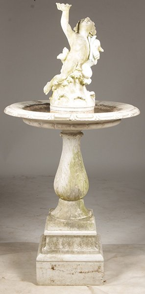 ITALIAN CARVED MARBLE PUTTI FOUNTAIN 19TH  C.
