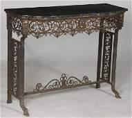 OSCAR BACH BRONZE IRON CONSOLE TABLE CIRCA 1915