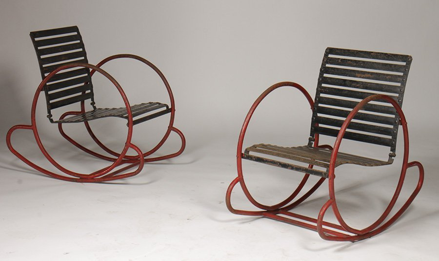 PAIR ART DECO TUBULAR WROUGHT METAL CHAIRS C.1930