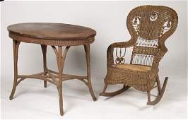 WICKER TABLE & ROCKER C.1890 HEYWOOD WAKEFIELD